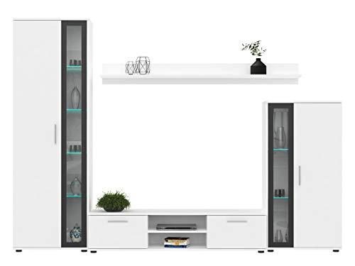 Wohnwand Bentley, Praktischer Anbauwand, Schrankwand, Mediawand, viel Stauraum, Top-Qualität (Weiß/Schwarz, mit LED Beleuchtung)