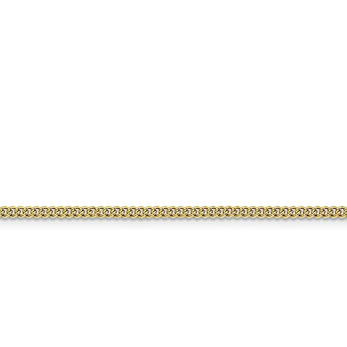 Stainless Steel IP 14ct Gold Plated Polished IPG Gold Flashed Fancy Lobster Closure 2.25mm Round Curb Chain Necklace Jewelry Gifts for Women - 46 Centimeters