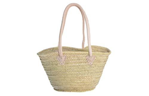 Afrikan Bags - Bolso Capazo de Palma | Bolso de Palma de Base Oval con Asa de Cuero Redonda en Cuero Natural - 40 x 17 x 25 cm