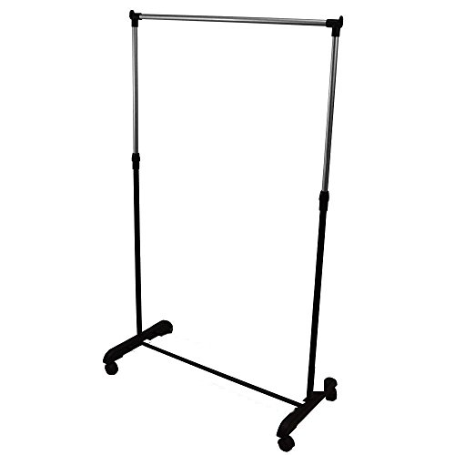 Adjustable Garment Rack Clothing Rail with Wheels Metal Black