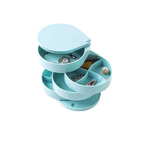 Kudiro Joyero colgante pulsera caja de almacenamiento 4 capas giratoria Joyero diseño de gama alta, regalo del día de San Valentín (azul)