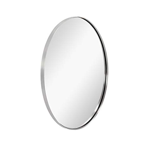ANDY STAR Oval Wall Mirror   22x30x1'' Brushed Sliver Bathroom Mirror with -