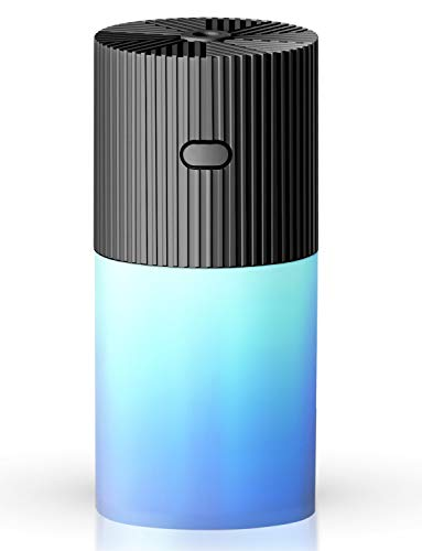 TOPLANET Humidifiers for Bedroom, Mini Cool Mist Humidifier Portable, USB Personal Ultrasonic Humidifier 300ml with 7 Colors LED Night Light Whisper Auto Shut-Off for Bedroom Home Car Office - Black