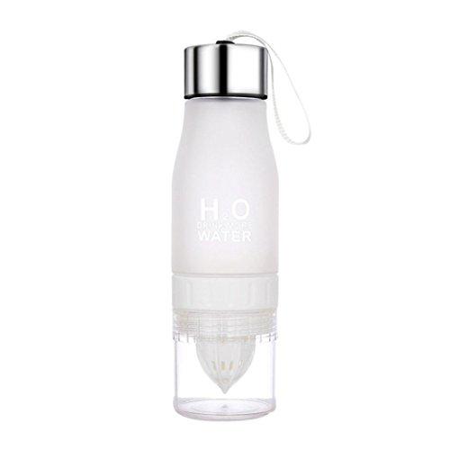 Hunpta Botella de limón de 650 ml H2O para beber más agua para bicicleta (blanco)