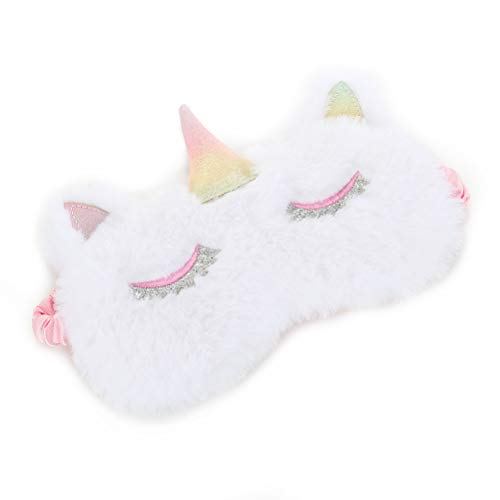 AimdonR Pluche eenhoorn oogmasker Cartoon slaapoogmasker Soft Unicorn Eye Cover