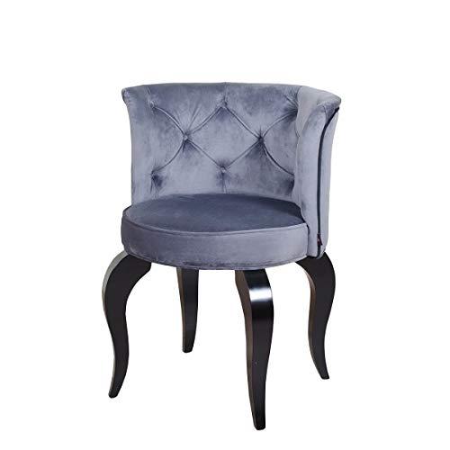 Petro Design Stuhl Luna Style Grey Samt Esszimmer Polsterstuhl Barock Schminktisch Schreibtisch Lounge Chesterfield