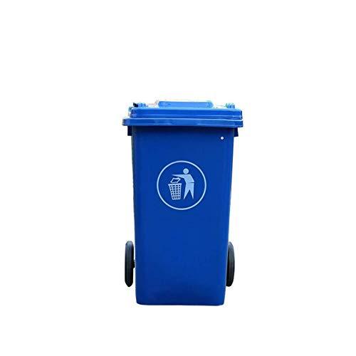 Bote de Basura Cubierto al Aire Libre 100L, contenedor de Almacenamiento de Basura con Ruedas de plástico, Basura de Multicolores 48 Veces; 53 cm (Color: Azul) kshu (Color : Blue)