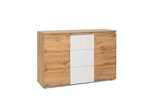 Kommode - Sideboard (B/H/T: 120 x 80 x 40 cm) griffloses Design, Honigeiche/Weiß