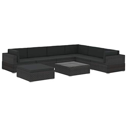 pedkit Set Muebles de jardín 8 Piezas y Cojines ratán sintético Negro Sofa Jardin Exterior tumbonas Jardin Exterior