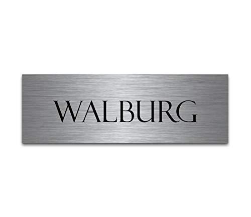 Klingelschild Briefkastenschild aus Edelstahl mit Gravur | Türschild selbstklebend oder blank 6x2 cm eckig Klingelschild - Türschilder für die Haustür mit Namen selbst gestalten