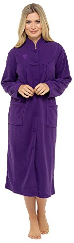 Ladies Warm Fleece Long Sleeve Button & Pockets Front Soft Dressing Gown Jacket (18-20, Purple)