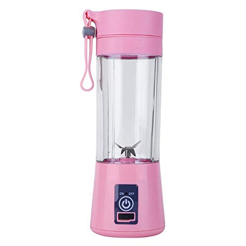CHUN LING Portable Juicer Electric, Baby Food Mixing Machine With Updated 6 Blades, Magnetic Secure Switch Electric Superb Mixing 380ml Pink