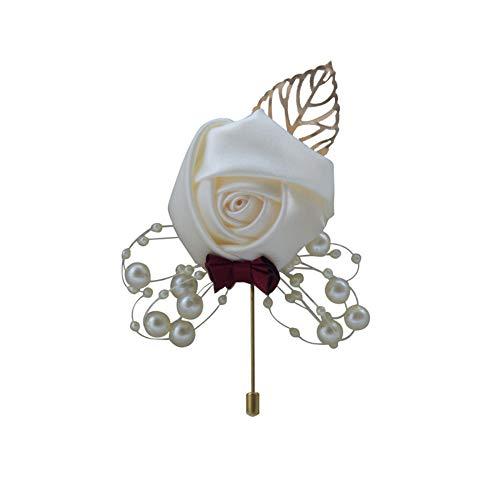 Quibine - Spilla da uomo con fiore all'occhiello per sposo, ideale per matrimonio, ritorno a casa, ballo di fine anno, decorazione per abiti da sposa (bianco latte, 1)