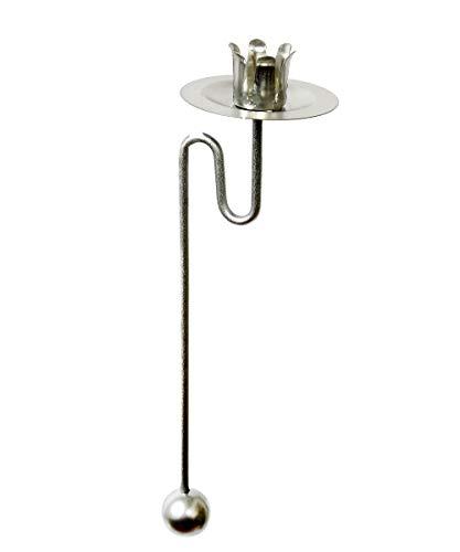 hdg Baumkerzenhalter Balancehalter Pendelhalter für Weihnachtsbaum matt Silber (Silber, 12er)