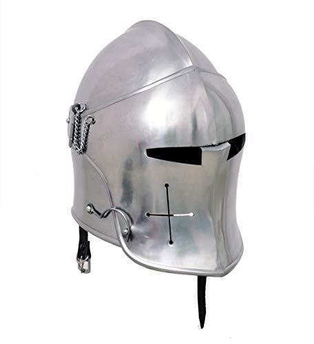 Mittelalter Barbuta Helm Ritter Templer Crusader Panzerhelm Römer Spartan Silber