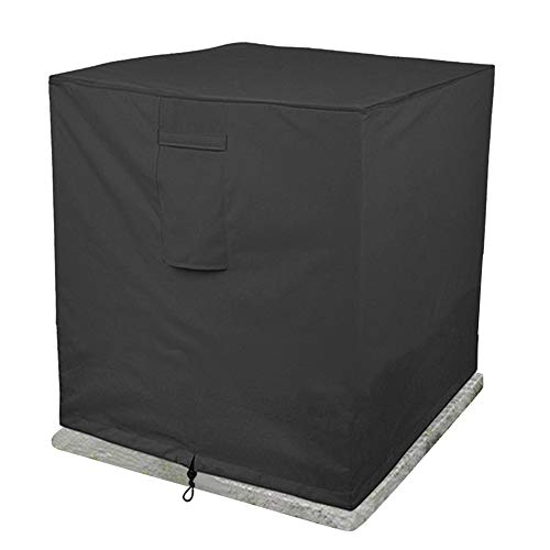 Outdoor Air Conditioner Cover, Fire Pit Cover Square Heavy Duty 420D Oxford Fabric Waterproof Multi-Function Air Conditioner Dust Cover for Home Garden (86X86x76 cm),Black