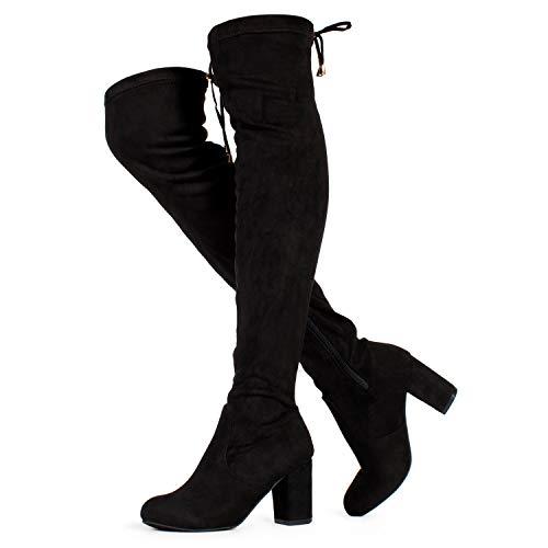 RF ROOM OF FASHION Chateau Women's Over The Knee Block Heel Stretch Boots (Medium Calf) Black SU (9)