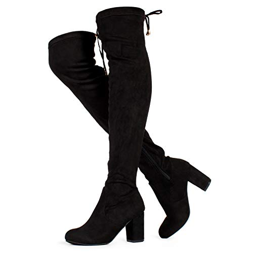 RF ROOM OF FASHION Chateau Women's Over The Knee Block Heel Stretch Boots (Medium Calf) Black SU (9)