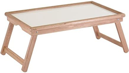 Basic Lap Table/Bed Tray, Folding Table, Notched Handles, White Melamine and