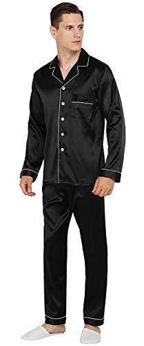 YIMANIE Mens Silk Satin Pajamas Set Classic Sleepwear Loungewear, Black, M