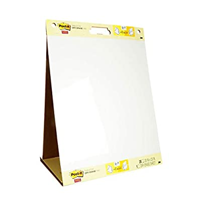 Post-it Super Sticky Portable Tabletop Easel Pad w/ Dry Erase Panel, 20x23 Inches, 20 Sheets/Pad, 1 Pad, One Side White Premium Self Stick Flip Chart Paper, One Side Dry Erase, Built-in Stand (563DE) (563 DE)