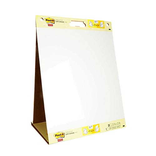 3M Portable Two in One Flip Chart and Dry Erase White Board Table Top Meeting Chart, 20 Sheets - 50 x 58cm