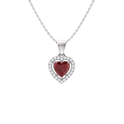 Diamondere Natural and Certified Ruby and Diamond Heart Petite Necklace in 14k White Gold | 0.51 Carat Pendant with Chain