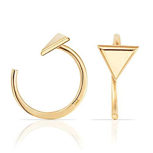 Simple Mini Triangle Slip On Huggie Cuff Earrings In Solid 14K Yellow Gold- Hoops Cuff Earring Fine Authentic Earrings For Women, Girls Teen