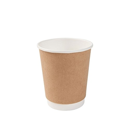 BIOZOYG Karton Doppelwand Kaffee Trinkbecher Einweg Bio I 25 Stück to Go Pappbecher innen weiß, Außenwand braun unbedruckt 200 ml / 8 oz I 100% biologisch abbaubar, Zertifiziert kompostierbar