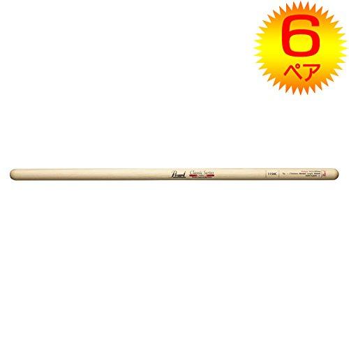 【6ペア】Pearl パール 115HC ヒッコリー ドラムスティック クリアラッカーフィニッシュ [14.5x405]