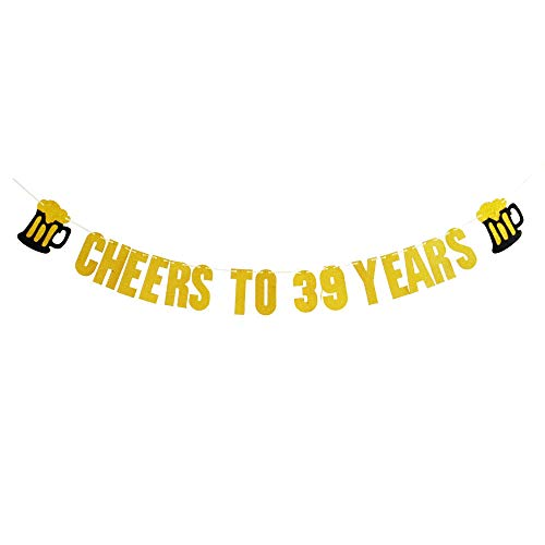 39Th Birthday Banner 39Th Birthday Party Ideas Happy 39Th Birthday Banner Decorations Supplies Celebration Party Banner Cheers to 39 Years Hang Bunting Birthday Party Decorations Supplies.