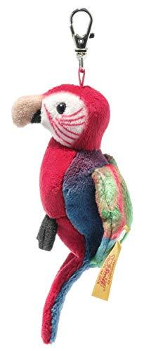 Steiff 024405 Original Plüschtier Anhänger Macaw Papagei, National Geographic Kuscheltier ca. 9 cm, Markenplüsch mit Knopf im Ohr, Schmusefreund für Babys von Geburt an, rot-blau