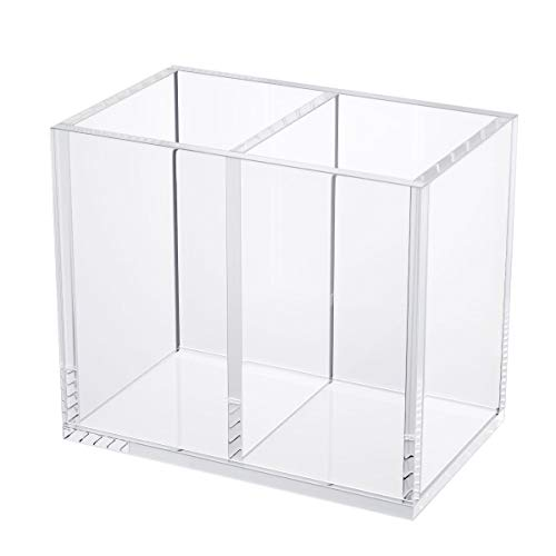 NIUBEE Acrylic Pen Holder 2 Compartments, Clear Pencil Organizer Cup for Countertop Desk Accessory Storage