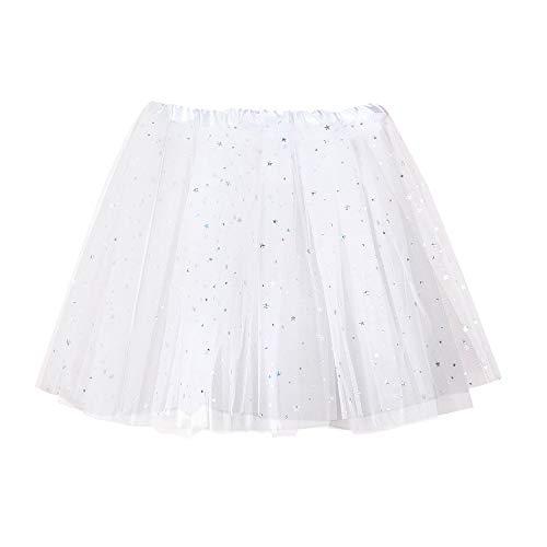 Andouy Damen Sparkly Star Pailletten Tutu Rock Tüll Organza Petticoat Balletttanz Geschichtet Kostüm Dress-up Größe 36-46(36-46,Sahne)
