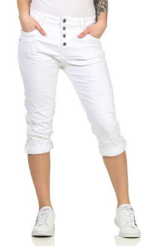 Karostar Capri Jeans Bermuda 3/4 Jeanshose Kurze Hose Boyfriend Chino in Schwarz und Blau 93 (38, Weiß)