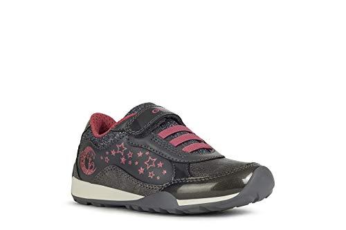 Geox Mädchen Sneaker Jocker Plus Girl, Kinder Low-Top Sneaker,lose Einlage, Klettschuh Klett-Verschluss Kinder,DK Grey/Fuchsia,32 EU / 13 UK Child