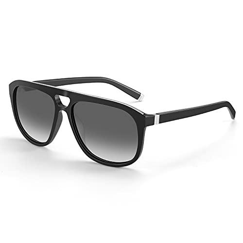 ZENOTTIC Gafas De Sol Polarizadas Retro para Hombres Gafas De Sol de Piloto Cuadrado con Protección UV400 de Doble Puente