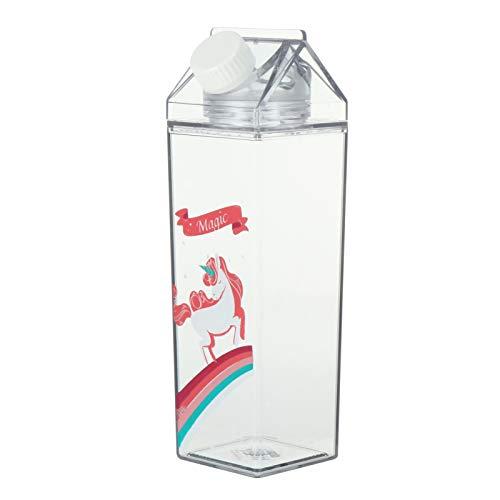 Hemoton Botella de agua de cartón de leche con patrón de unicornio, portátil, de plástico, para jugo, bebidas, para escalada, viajes, camping