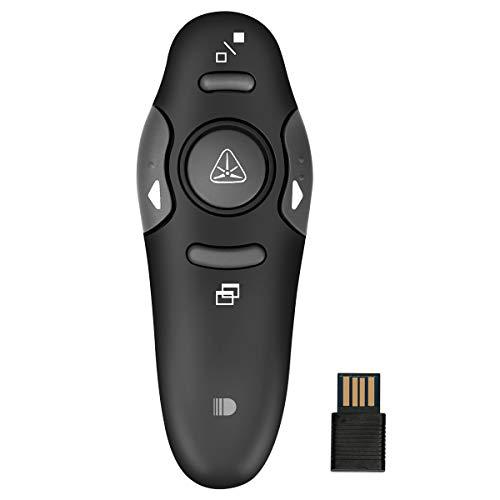Puntatore, Doosl Telecomando per Presentazioni PowerPoint Mini Ricevitore USB da 2.4GHz compatibile Powerpoint/Prezi/Keynote/Windows 2000, XP, Vista, Win7, Win8, Win10/MAC OS/Linux - Nero