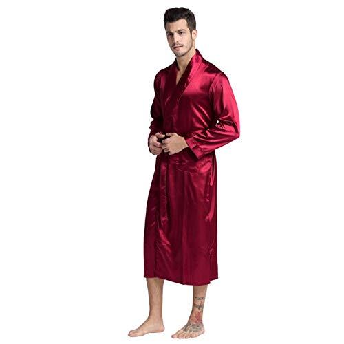 POMU Heren Zijde Satijn Badjas Robe Lange Effen pyjama Mannen Zijde Nachtjapon Slaapmode Kimono Thuis Dressing Jurk