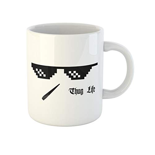 Awowee Coffee Mug Sun Pixel Glasses Thug Life Meme Cannabis Joint 8Bit 11 Oz Ceramic Tea Cup Mugs Best Gift Or Souvenir For Family Friends Coworkers