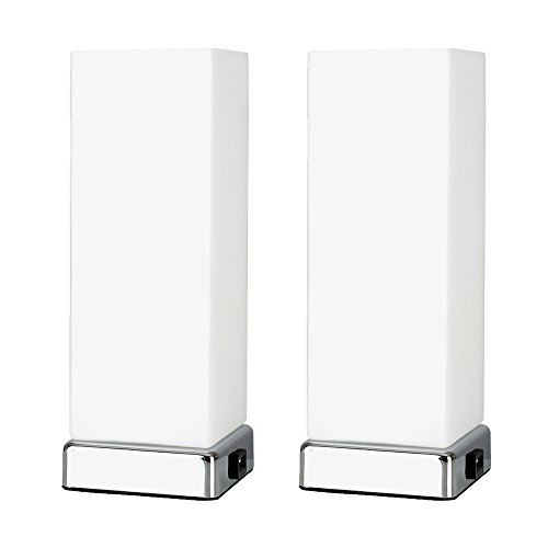 Pair of - Modern Chrome & White Frosted Glass Bedside Touch Table...