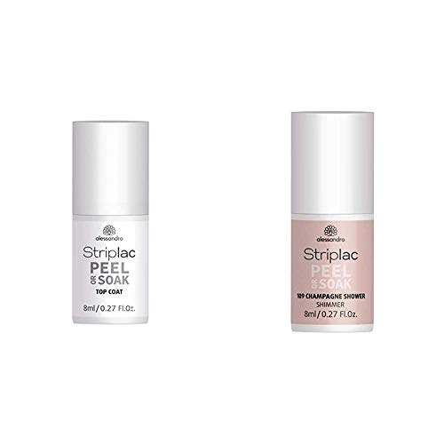 alessandro Striplac Peel or Soak Top Coat – LED-Überlack für eine perfekt glänzende Farblackierung – 8ml & Striplac Peel or Soak Champagne Shower – LED-Nagellack in schimmernden Beige-Rosa – 1 x 8ml