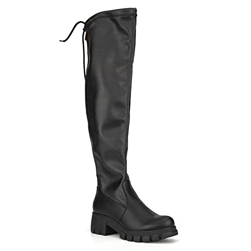 Olivia Miller Women's Fashion Shoes, Black Shiny Vegan PU Leather Lug Sole Back Lace Chunky Heel Round Toe Thigh High Casual Trendy Over the Knee Boots