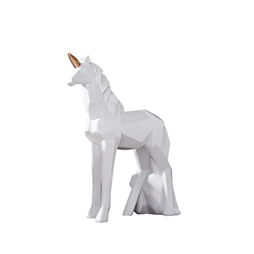 JYTBD Yun Tao Nordic Origami Negro y Negro del Unicornio Inicio Decoración Moderna y Sencilla Oficina de Ventana Modelo de Habitaciones estatuas de Pantalla (Color: Negro) (Color : White)