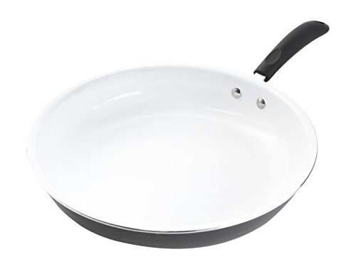 Gibson Home 12-Inch Ceramic Non-Stick Open Fry Pan, White
