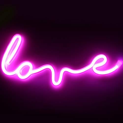 XIYUNTE Love Leuchtschilder - Rosa LED Love Neonlicht Liebe Neonschild Wandlichter, Batterie oder USB betrieben Liebe Licht Dekoration für Zuhause, Kinderzimmer, Bar, Party, Weihnachten