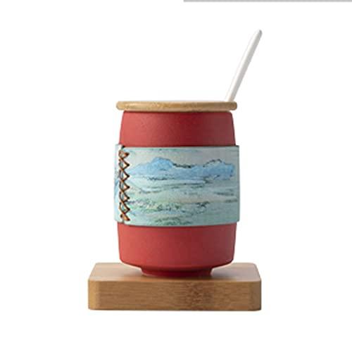 WHL Taza con Cucharada de Tapa Hombres creativos y de Mujer Copa de Agua Simple Taza de Desayuno Taza de café Copa de cerámica (Color : Red)