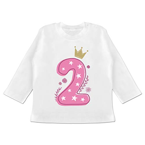 Geburtstag Baby - 2. Geburtstag Mädchen Krone Sterne - 18/24 Monate - Weiß - geburtstagsshirt 2 Jahre mädchen - BZ11 - Baby T-Shirt Langarm