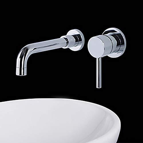 LCSD Wasserhahn Moderne Wand-Keramikventil Zwei-Loch-Einhand-Doppel-Loch-Chrom, Waschbecken Wasserhahn Badewanne Wasserhahn